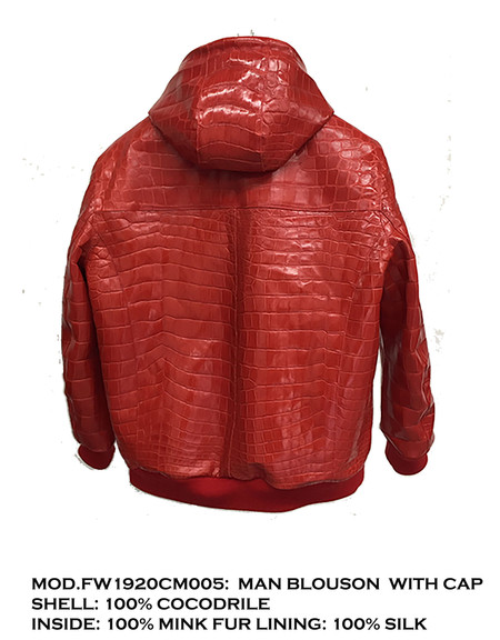 Man Blouson crocodile with inside mink fur